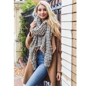 Ivory & Black Fall Plaid Check Blanket Scarf NEW